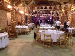vintage barn with wedding bunting