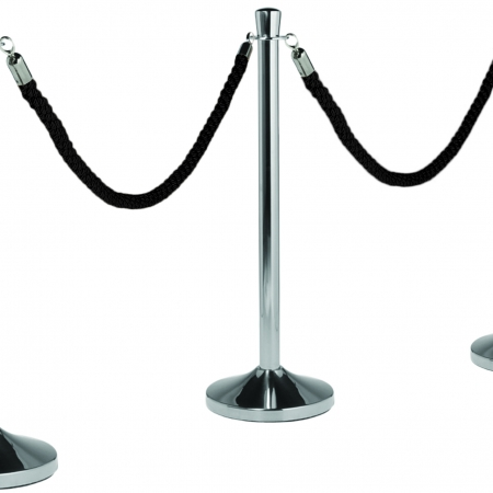 Chrome Stanchion Posts with Black Rope Hire
