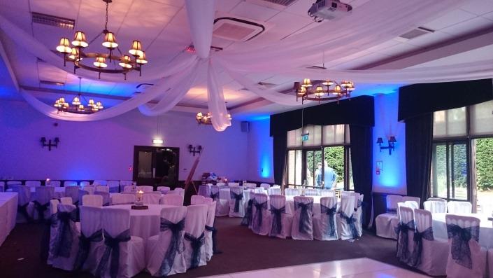 new place de vere wickham arden suite ceiling drapes led dancefloorand uplighter hire