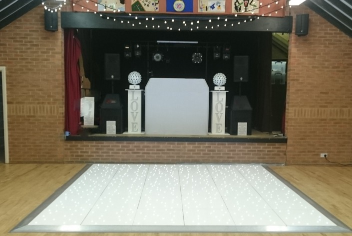 southwick memorial hall white led dancefloor and fairy light swags