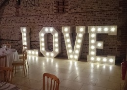 upwaltham barns light up LOVE letter hire