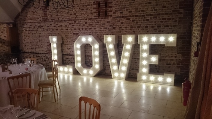 upwaltham barns light up LOVE letter hire
