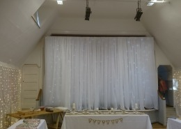 room draping village hall fairy lights backdrop