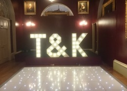 Goodwood House Individual Letters T K and white LED Dancefloor