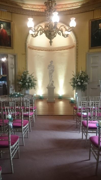 goodwood house uplighter aisle ceremony e1489931780869