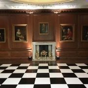 Cowdray dinning room black and white dancefloor