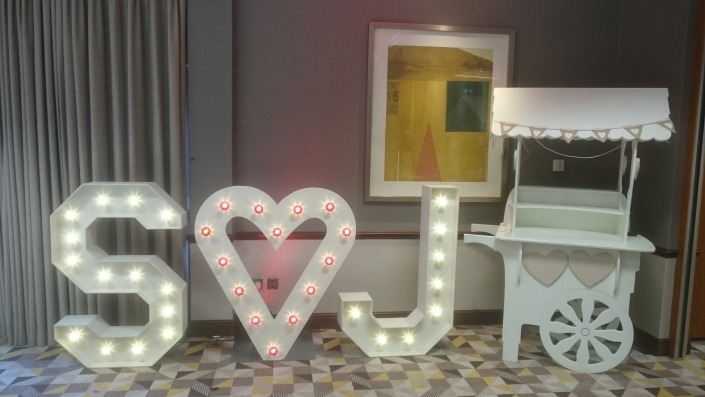 S heart J light up individual light up letters solent hotem and spa