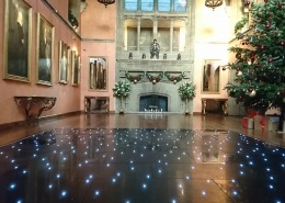 black led dancefloor in bucks hall at cowdray house at christmas
