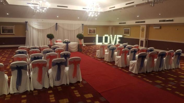 avisford park hilton 4ft love ceremony red carpet
