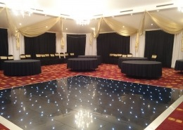 black led dancefloor and ceiling drapes at hilton avisford hotel