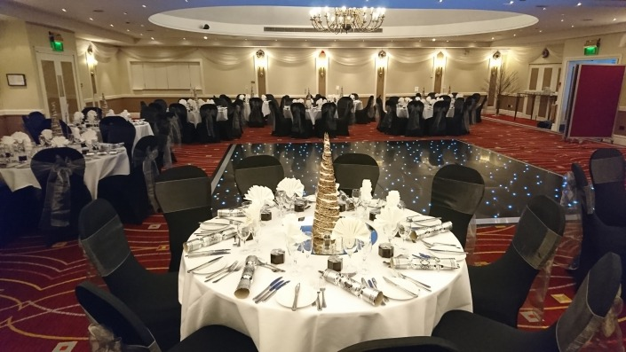 portsmouth marriott chair cover and sash with black led dancefloor