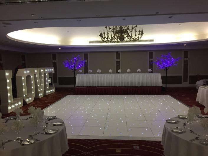 portsmouth marriott hotel 5ft love white led dancefloor purple cherry twig trees