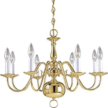 8 arm brass marquee chandelier