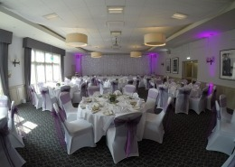 new place ceiling drapes chair covers in cadburys purple twinkle backdrop uplighters