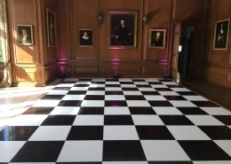 black and white floor in dining room at cowdray house