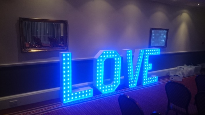 colour changing light uplove letters at portsmouth marriott hotel heritage suite