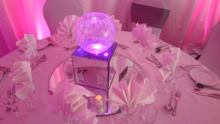 marriott hotel table cracked glass on mirror box with light room drape chair cover and sash