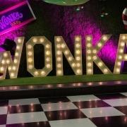 skylarks light up individual letter hire w o n k a wonka black and white dancefloor