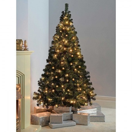 7ft Artificial Christmas Tree Warm White Pre Lit Led Lights Xmas Green