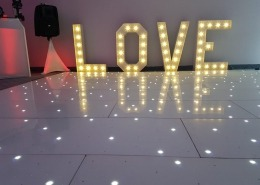 4ft love and white led dancefloor at langston hotel hayling island