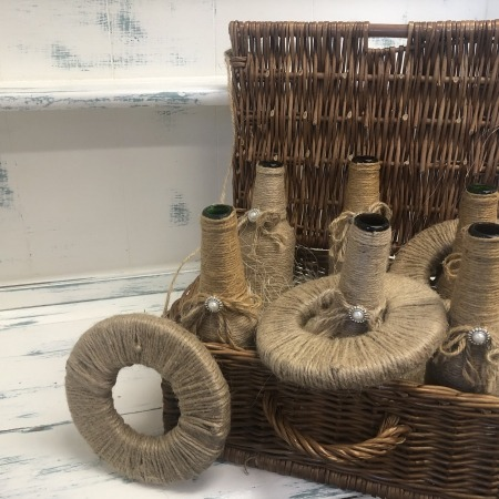 glass bottle hamper hoopla with rings rustic twine