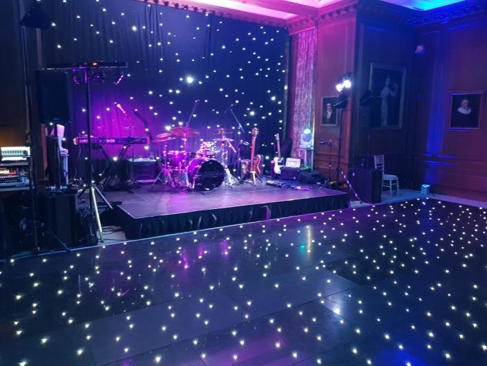 Cowdray House Black led Dancefloor Showband Uplighting Starcloth