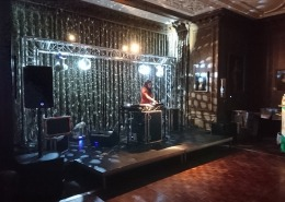 Cowdray house dinign room underground theme truss mirror ball adj moving heads parquet dancefloor stage