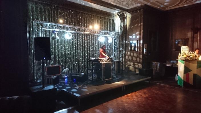 Cowdray house dinign room underground theme truss mirror ball adj moving heads parquet dancefloor stage